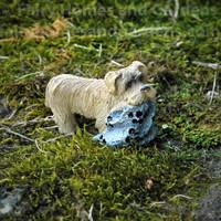 Miniature Puppy Figurine with Blankie