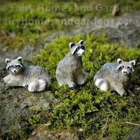 Miniature Raccoon Figurines - Set of Three