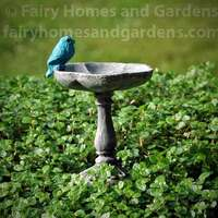Miniature Birdbath with Tiny Bluebird