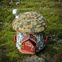 Shingletown Mushroom Fairy Hut with Hinged Door Ajar