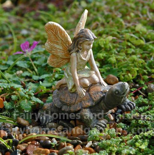 Miniature Garden Fairy Riding Her Pet Tortoise