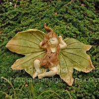 Sleeping Fairy Baby with Leaf Wings