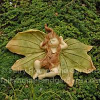Sleeping Fairy Baby with Leaf Wings