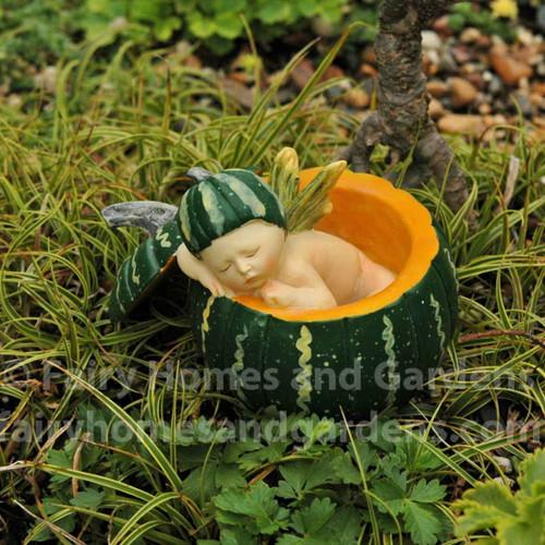 Fairy Baby in a Miniature Green Pumpkin