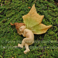 Fairy Baby with Folded Leaf Wings