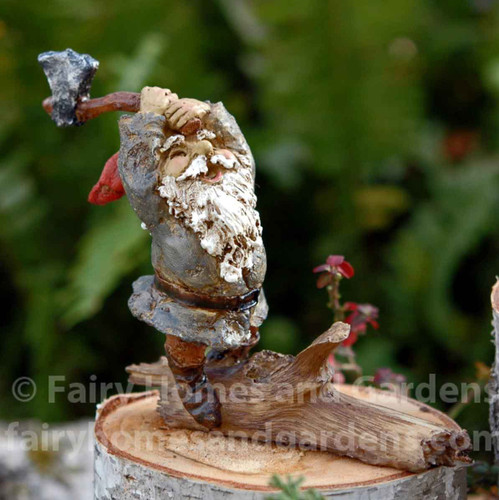 Miniature Gnome Chopping Wood