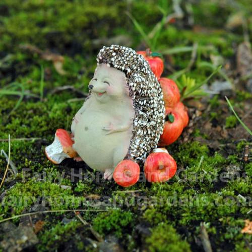 Miniature Hedgehog Full From Eating Apples