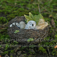 Sleeping Fairy Baby in Nest with Owl
