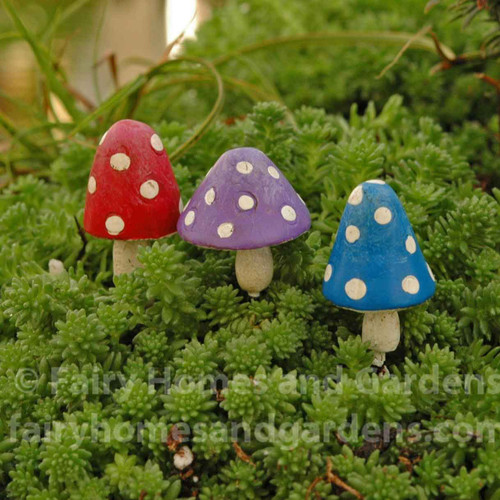 Set of 3 Miniature Polka-Dotted Toadstools