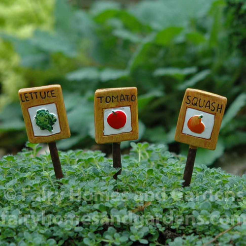 Set of 3 miniature garden markers