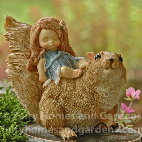 Little Fairy Sleeping on Squirrel