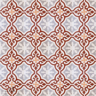 MEDALLION BURGUNDY CEMENT TILES