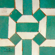GEO HEX GREEN MOSAIC TILES