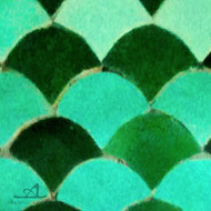 "SCALLOPS JADE & FOREST GREEN (2"") MOSAIC TILES"