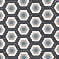 HEXAGON ALBERS BLACK CEMENT TILES