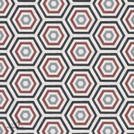 HEXAGON BURGUNDY CEMENT TILES