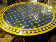MEDIUM BLUE & YELLOW CUIRA CAB ROUND TABLE