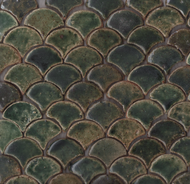 "SCALLOPS CAMO GREEN (2"") MOSAIC TILES"