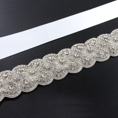 GIAVAN Sash with Scalloped Crystal Applique BL45