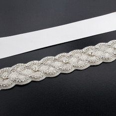 GIAVAN Sash with Scalloped Crystal Applique BL57