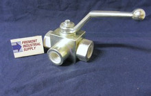 "(Qty of 1) Hydraulic Ball Valve 3 way 1/4"" NPT 5800 PSI Gemels GE3NNT14011A000 FREE SHIPPING"