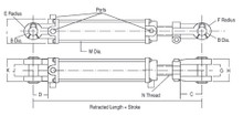 """Hercules HTR2016 Tie Rod Style Hydraulic Cylinder 2"""" bore with 16"""" stroke Hercules Sealing Products"""
