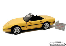 FRANKLIN MINT 1986 Chevrolet Chevy Corvette Diecast 1:24 Scale MIB Yellow