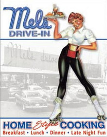 Metal - Tin Sign MEL's DRIVE-IN / CAR HOP - Garage Man Cave Sign