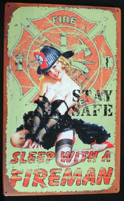 Metal - Tin SIgn - STAY SAFE - SLEEP WITH A FIREMAN Garage Man Cave Bar Sign