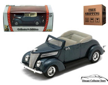 1937 Ford V8 Convertible ROAD SIGNATURE Diecast 1:43 Scale Blue FREE SHIPPING