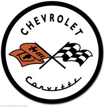 Metal - Tin Sign CHEVROLET CORVETTE Round Dealer Sign