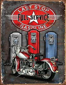 Metal - Tin Sign LAST STOP - FULL SERVICE Motorcycle Garage Man Cave Sign