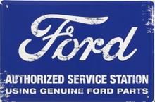 Metal - Tin 3-D EMBOSSED Sign FORD AUTHORIZED SERVICE STATION Garage Sign