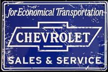 Metal - Tin 3-D Embossed Sign CHEVROLET SALES & SERVICE Man  Cave Garage Sign