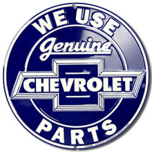 Metal - Tin 3-D Embossed Round Sign GENUINE CHEVROLET PARTS Man Cave Garage Sign