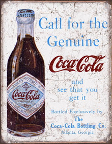 Metal - Tin Sign Call for the Genuine COCA COLA Garage Man Cave Coke Sign