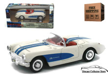 1957 Chevrolet Corvette NEWRAY City Cruiser Diecast 1:43 White/Blue FREE SHIPPING
