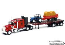 KENWORTH W900 Tractor Trailer w/ Farm Tractor Trailer Hay NEWRAY Diecast 1:32