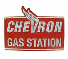 Metal - 3-D Embossed Sign CHEVRON GAS STATION Garage Sign