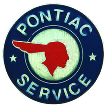 Metal - Tin Embossed Round Sign PONTIAC SERVICE Man Cave Garage Sign
