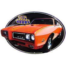 Metal - Tin 3-D Embossed Die-cut Sign Pontiac GTO THE JUDGE Enamel Oval Sign