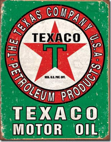 Metal - Tin Sign TEXACO MOTOR OIL Green Garage - Man Cave Sign