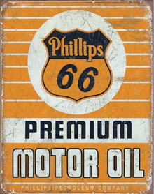 Metal - Tin Sign PHILLIPS 66 PREMIUM MOTOR OIL Garage - Man Cave Sign
