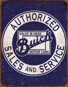 Metal - Tin Sign BUICK AUTHORIZED SALES & SERVICE Man Cave Garage Sign