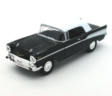 1957 Chevrolet Chevy Bel Air Top Up Convertible WELLY Diecast 1:38 Scale Black