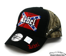 Hat - REBEL Camouflage 3-D Embroidered Ball Cap with Flag FREE SHIPPING