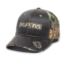 Hat - RAM Camouflage Weathered Ball Cap 3-D Embroidered with Applique
