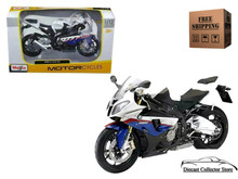BMW S 1000RR MAISTO Diecast 1:12 Scale Black White Blue FREE SHIPPING