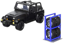 1992 Jeep Wrangler w/ Extra Wheels JADA JUST TRUCKS Diecast 1:24 Scale Matte Back 98020