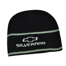 Hat - Chevrolet Silverado Embroidered Knit Beanie Cuffless Cap Black & Silver